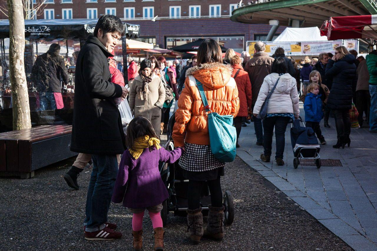 Chinese familie op markt